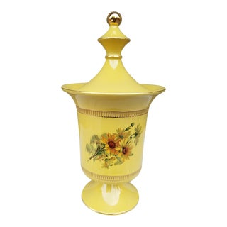 Italian Ceramic Floral Urn, Florentine Gold Vase For Sale