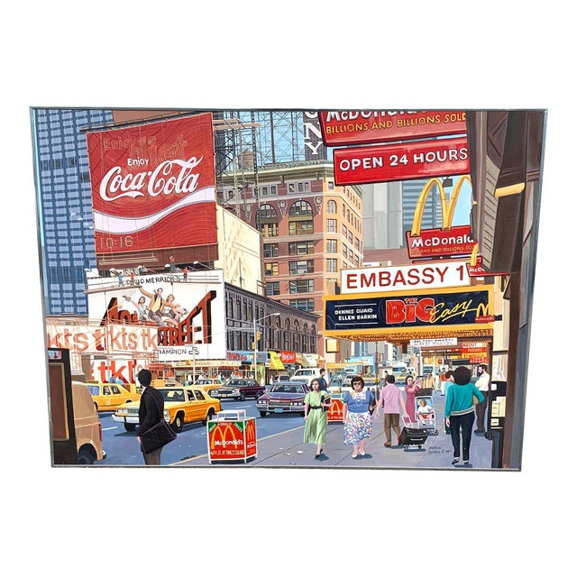 1987 Nyc- Times Square Pop Art Original Painting by Matthew Popielarz For Sale