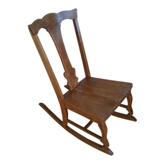 Late 19th Century Antique Queen Anne Fiddle Back Rocking Chair For Sale