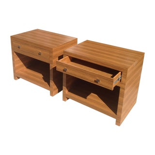Zebrawood Modern Nightstands - A Pair
