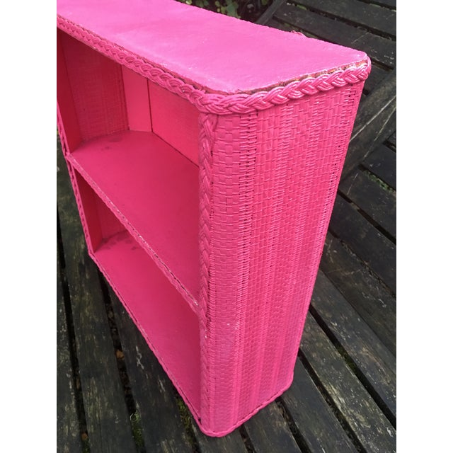 Hollywood Regency 1950s Shabby Chic Hot Pink Wicker Shelf For Sale - Image 3 of 10