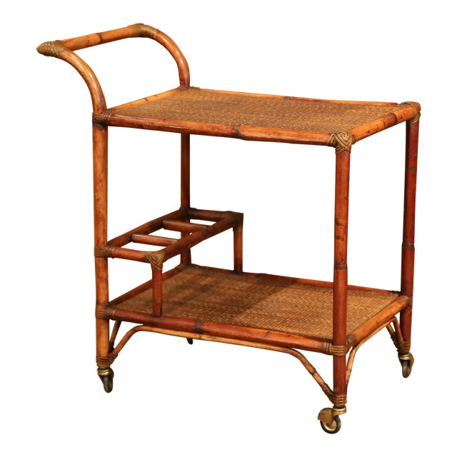 Early 20th Century French Patinated Bamboo Two-Tier Bar Cart For Sale