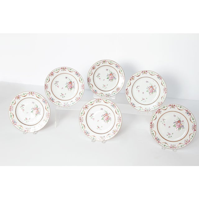 Asian Early 19th Century Chinese Porcelain Plates Set of Six For Sale - Image 3 of 13