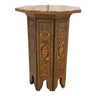 Late 20th Century Moroccan Inlay Carved Wood Side Table For Sale