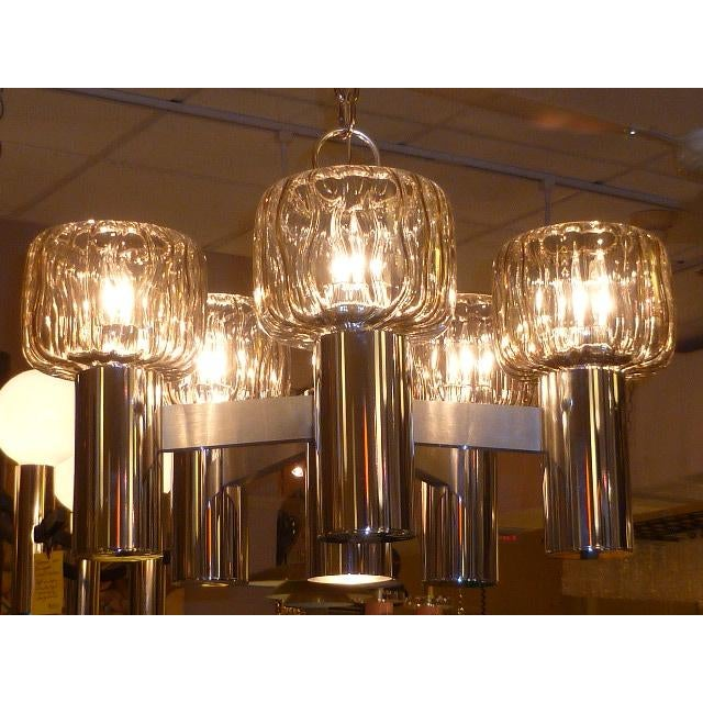 Mid-Century Modern Five Globe Nickel Lightolier Mid Century Chandelier For Sale - Image 3 of 9