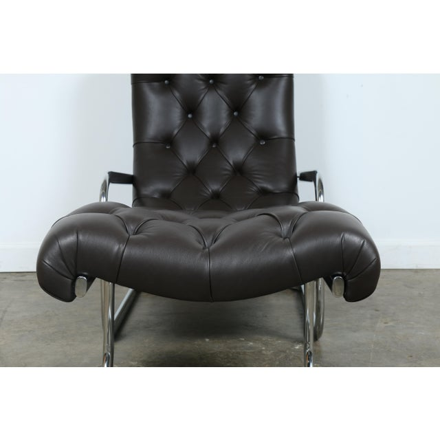 Italian Leather Chair and Ottoman For Sale - Image 4 of 11