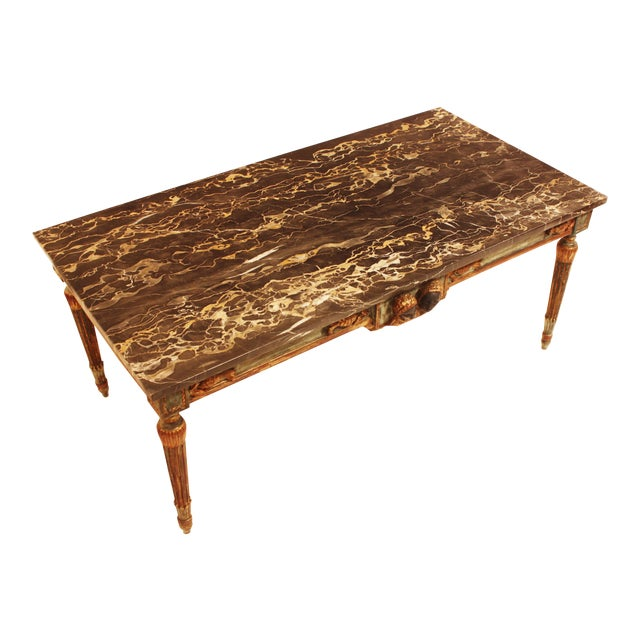 French Painted and Parcel Gilt Neoclassical Style Marble-Top Coffee Table For Sale
