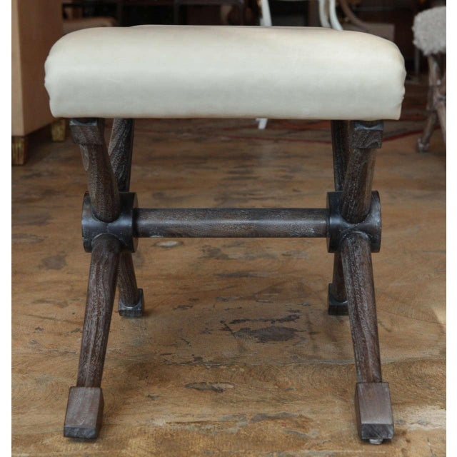 Animal Skin X-Base Bench in Leather For Sale - Image 7 of 7