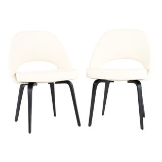 Vintage Eero Saarinen for Knoll Boucle and Ebonized Wood Executive Armless Side Chairs - A Pair For Sale