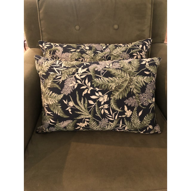 Contemporary Waverly Chartreuse and Black Print Lumbar Pillows - a Pair For Sale In New Orleans - Image 6 of 6