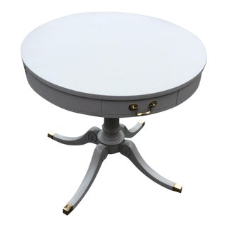 1980s Traditional Drum Table Pedestal Form With Drawer and Brass Feet and Pulls For Sale