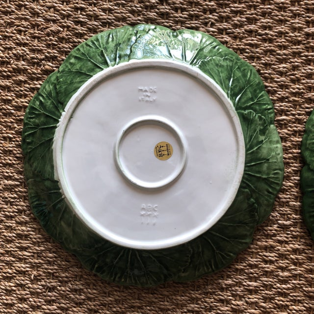 1900s Italian Cabbage Leaf Plates - a Pair - Image 7 of 8