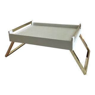 Hollywood Regency White Vinyl and Brass Breakfast Tray For Sale