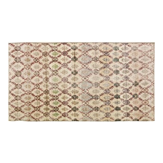 """Vintage Turkish Anatolian Hand Knotted Art Deco Organic Wool Fine Weave Rug,4'10""""x9'5"""" For Sale"""