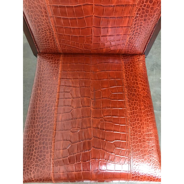 Animal Skin Ralph Lauren Home Modern Metropolis Leather Side Chair For Sale - Image 7 of 10