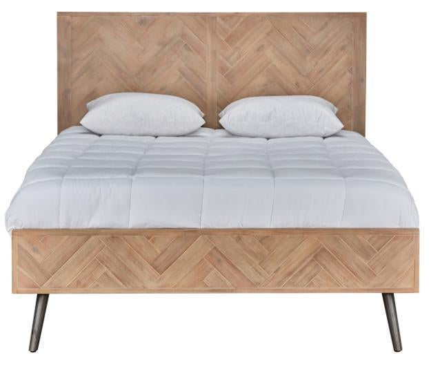 Mid Century Modern Style Pine Cal King Bed Frame | Chairish