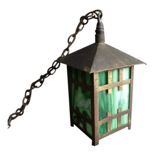 Early 20th Century Arts & Crafts Porch Light in Brass and Green Slag Glass For Sale