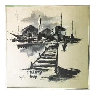 1970's Vintage Monochromatic Seaside Painting by J. Ochocki For Sale