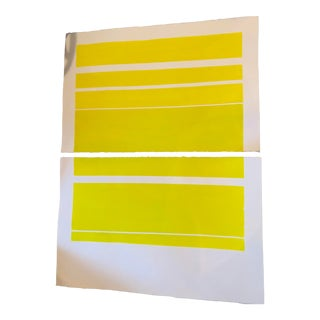 """""""Acid Green Abstract"""" Contemporary Minimalist Gouache Painting Diptych - Set of 2 For Sale"""