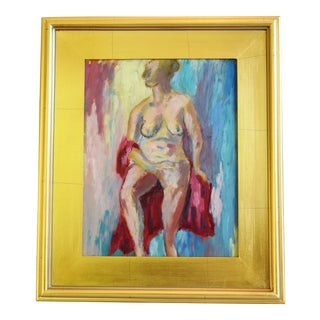 Colorful Abstract Female Nude Oil Painting W/ Gold Leaf Frame For Sale