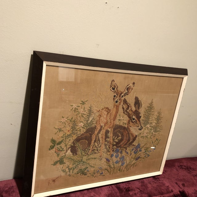 Vintage Deer With Fawn Cross Stitch Framed Textile Art For Sale - Image 10 of 12