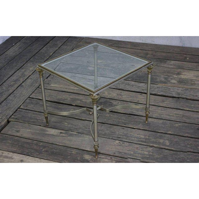 Italian Small Italian Steel and Glass End Table For Sale - Image 3 of 11