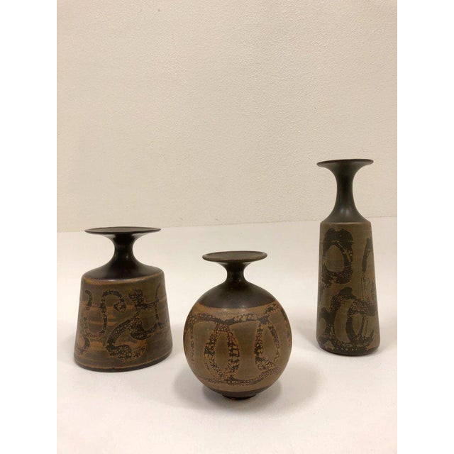 Primitive Ceramic Vases by Robert Maxwell- Set of 3 For Sale - Image 3 of 6