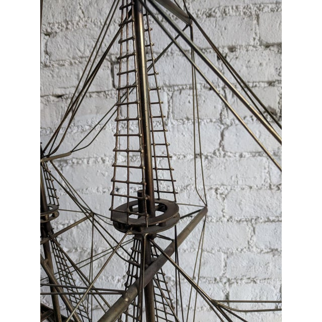 Mid-Century Modern Vintage Mid Century Brass Ship With Wood Base by Curtis Jere For Sale - Image 3 of 7