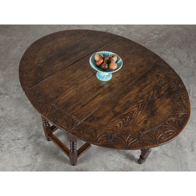 English Traditional Antique English Oak Drop Leaf Table circa 1885 For Sale - Image 3 of 11