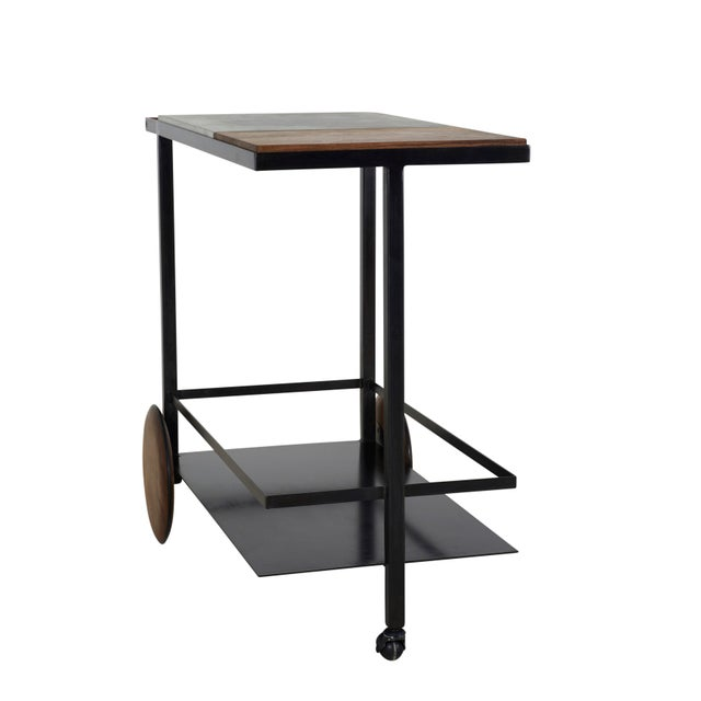 Metal Concrete Steel and Walnut Bar Cart For Sale - Image 7 of 9