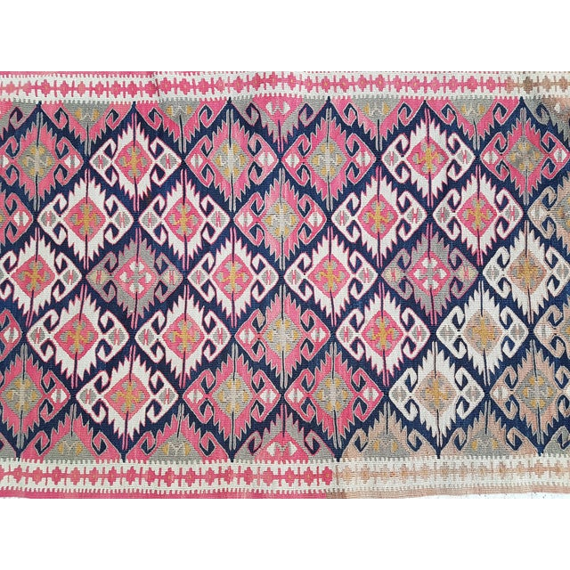 Vintage Turkish Kilim Rug 25.19'' x 42.91'' / 64x109cm Hand woven with high quality pure wool Excellent condition From...