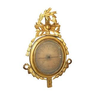 19th Century Gilt Wood Barometer For Sale