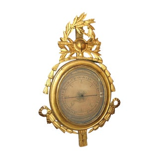19th Century Louis XVI Gilt Wood Barometer For Sale