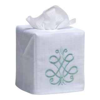 Aqua French Scroll Tissue Box Cover in White Linen & Cotton, Embroidered For Sale