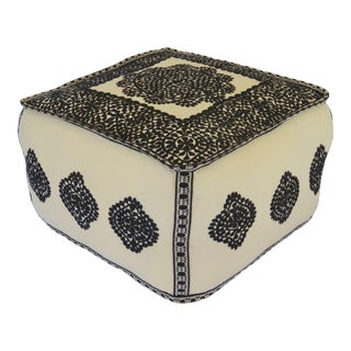 21st Century Embroidered Linen Moroccan Ottoman For Sale
