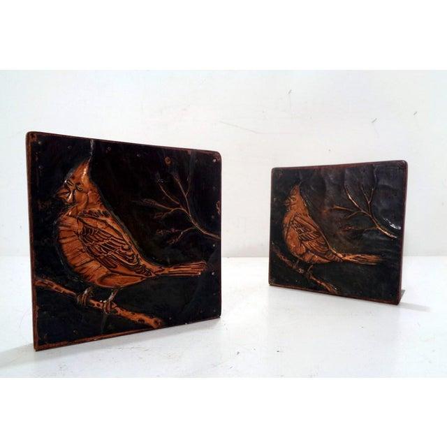 Antique Vintage Arts & Crafts Copper Cardinals Birds Folk Art Bookends For Sale - Image 12 of 12