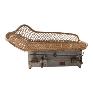Antique French Rattan Baby Scale For Sale