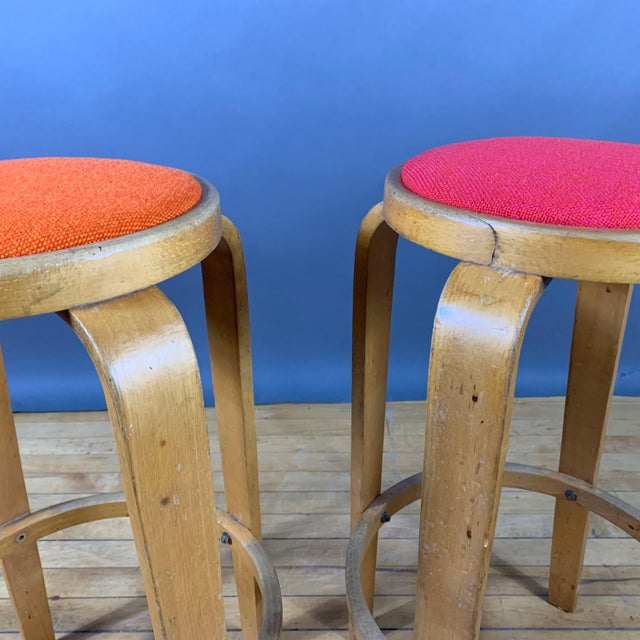 """Mid-Century Modern Mid-Century Bentwood Birch 26"""" Stool, Wool Upholstery For Sale - Image 3 of 9"""