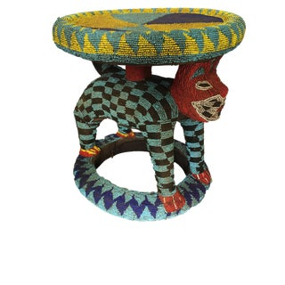 "Lg African Beaded Wood Bamileke Stool /Table Cameroon 23'""h For Sale"