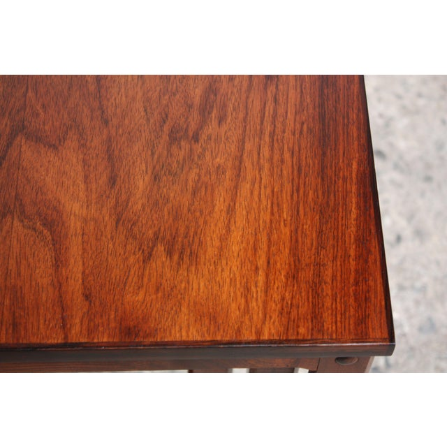 Brown Trio of Danish Rosewood Nesting Tables For Sale - Image 8 of 9
