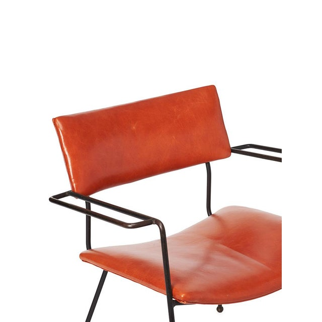 Mid-Century Iron and Leather Side Chair - Image 6 of 6