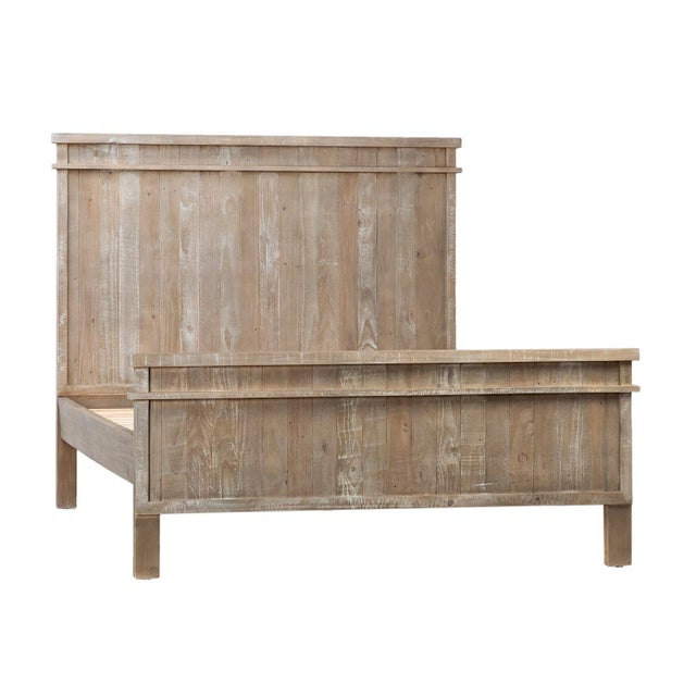 Contemporary Reclaimed Pine Wood Queen Bed Frame For Sale - Image 3 of 3