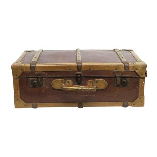 Vintage Mid Century Imported Brown & Tan Suitcase For Sale