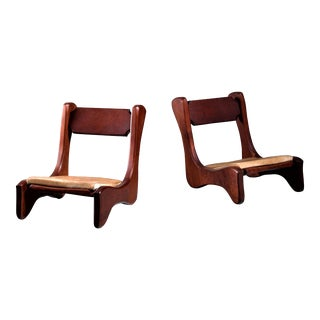 Pair of American Low Pastor Chairs with Cowhide Seat Pad by John McAlevey, 1972 For Sale