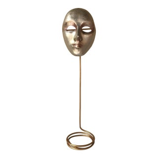 Italian Paper-Maché Mask on Custom Stand For Sale