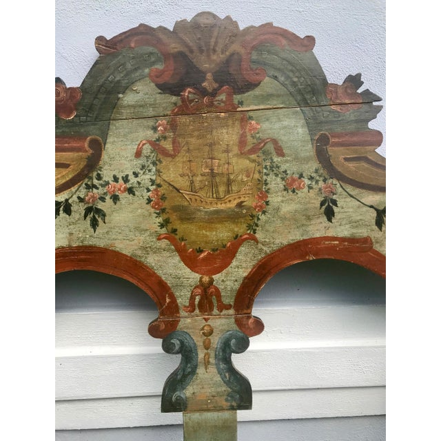 19th Century New England Hand Painted Wooden Headboard This beautiful and colorful (twin sized) Baroque style cut out...