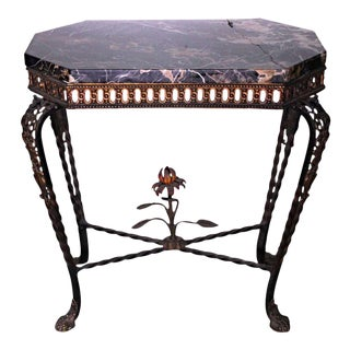 1930 Antique French Art Nouveau Style Iron Black Marble Console For Sale