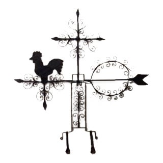 American Country (20th Cent) wrought iron weather vanes with rooster and scroll design For Sale
