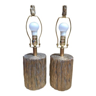 Faux Bois Lamps With Gold Wash - a Pair For Sale