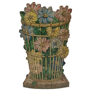 Fornasetti Umbrella Stand With Floral Wicker Basket For Sale